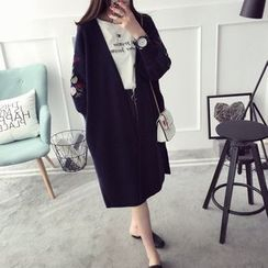Qimi - Flower Embroidered Long Cardigan