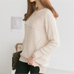 PEPER - Crochet-Overlay Cable Knit Top