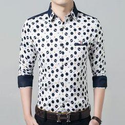 JIBOVILLE - Print Panel Long-Sleeve Shirt