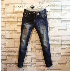 Sundipy - Washed Slim-Fit Jeans