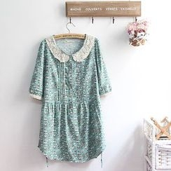 akigogo - 3/4-Sleeve Floral A-line Dress