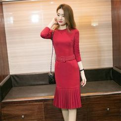 Crista - Long-Sleeve Belted Sheath Dress