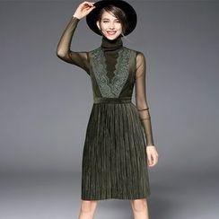 欧依潮派 - 套装: 高领上衣 + 多褶无袖连衣裙