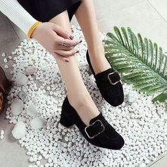 Megan - Faux-Suede Fringed Loafers