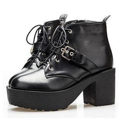 Mancienne - Lace-Up Chunky Heel Ankle Boots