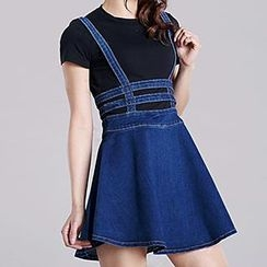 Jolly Club - Zip-Back Denim Suspender Skirt