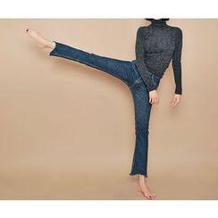 HOTPING - Boot-Cut Fray-Hem Jeans