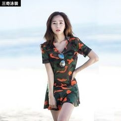 rosiwini - Set: Camo Swim Top + Swim Skirt + T-Shirt