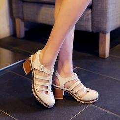 Shoes Galore - Lattice Block Heel Sandals