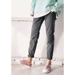 GOROKE - Band-Waist Brushed-Fleece Lined Tapered Pants