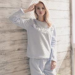 Snorie - Pajama Set: Embroidered Long Sleeve Top + Pants