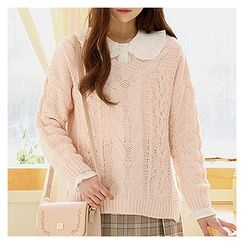 Sechuna - V-Neck Cable-Knit Sweater