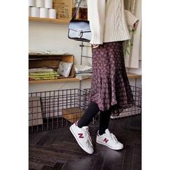 CHERRYKOKO - Asymmetric Ruffle-Hem Floral Chiffon Midi Skirt