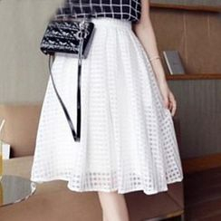 Loverac - Check Pattern A-Line Skirt