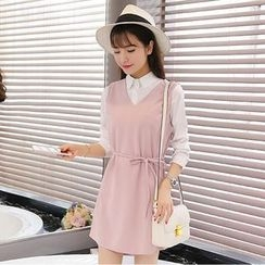 Zella - Set: Plain Shirt + V-Neck Tie Waist Sleeveless Dress