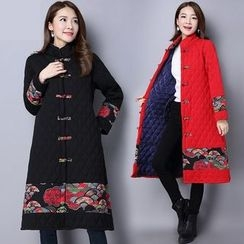 Diosa - Printed Panel Long Quilted Coat