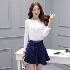 Zella - Set: Plain Stand Collar Shirt + Striped A-Line Mini Skirt