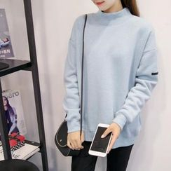 Blue Belle - Plain Mock-neck Fleece-lined Sweatshirt