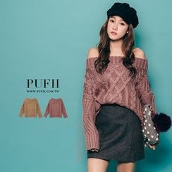 PUFII - Off-Shoulder Cable Knit Top