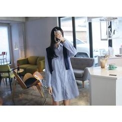 Envy Look - Detachable-Knit Striped Shirtdress
