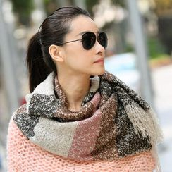 SO Central - Fringed Color-Block Knit Scarf