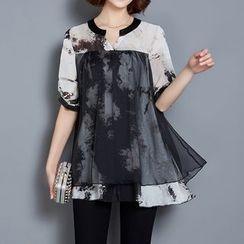LunarS - 短袖覆层雪纺衬衫
