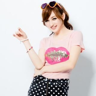 CUTIE FASHION - Short-Sleeve Sequined-Lip T-Shirt