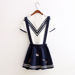 Aigan - Contrast-Stripe Embroidered Jumper Skirt