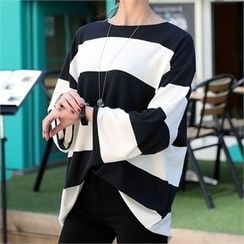 CHICFOX - Long-Sleeve Striped T-Shirt