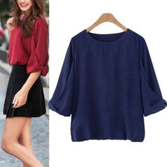 AGA - Plain 3/4 Sleeve Chiffon Top