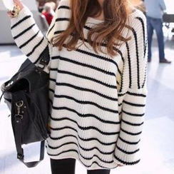 Dream Girl - Striped Dolman-Sleeve Knit Top