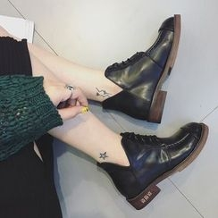 Zapatos - Faux-Leather Lace-Up Ankle Boots