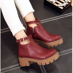 Freesia - Chunky Heel Platform Ankle Boots