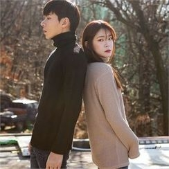 Superstar.i - Couple Turtle-Neck Rib-Knit Top