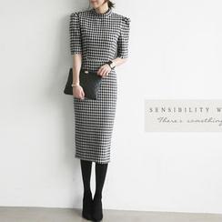 NANING9 - Wool Blend Houndstooth Sheath Dress