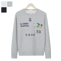 DANGOON - Crew-Neck Lettering Illustrated Sweatshirt