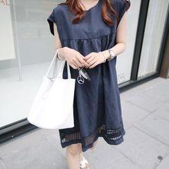 LunarS - Lace Panel Sleeveless Dress