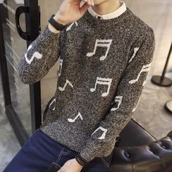 Alvicio - Musical Note Print Sweater