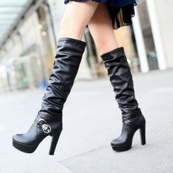Shoes Galore - Faux Leather High Heel Tall Boots