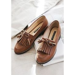 GOROKE - Round-Toe Ribbon Fringed Loafers