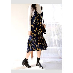 DEEPNY - Spaghetti-Strap Floral Print Long Dress