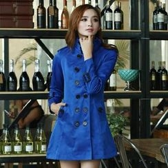 Flower Creek - Tab-Sleeve Double Breasted Trench Coat