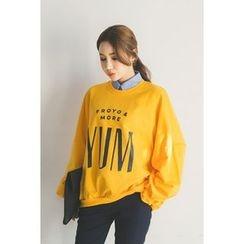 migunstyle - Round-Neck Lettering Pullover