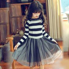 Cuckoo - Kids Set : Open Shoulder Stripe Long-Sleeve T-shirt + Mesh Tulle Mini Skirt