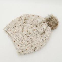 CLICK - Faux-Fur Pompom Knit Beanie