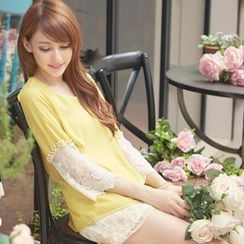 Tokyo Fashion - Lace 3/4-Sleeve Beaded Top