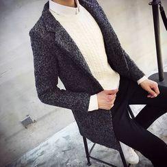 Ekinbrown - Notch Lapel Woolen Long Coat