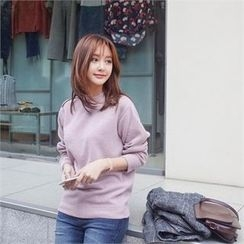 Styleberry - Round-neck Plain Knit Top