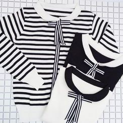 Bloombloom - Contrast Bow Knit Top