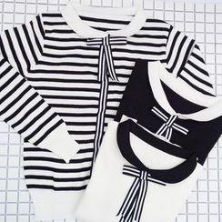 HL哈喽妹妹 - 配色蝴蝶结针织上衣